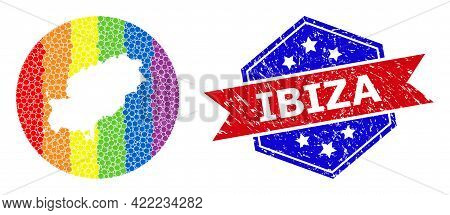 Dotted Rainbow Gradiented Map Of Ibiza Island Mosaic Composed With Circle And Carved Shape, And Scra