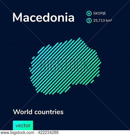 Flat Vector Simple Digital Neon Macedonia Map In Green, Turquoise, Mint Colors On A Dark Blue Backgr