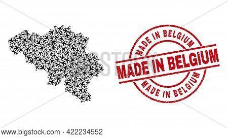 Made In Belgium Grunge Seal, And Belgium Map Mosaic Of Aeroplane Items. Mosaic Belgium Map Designed