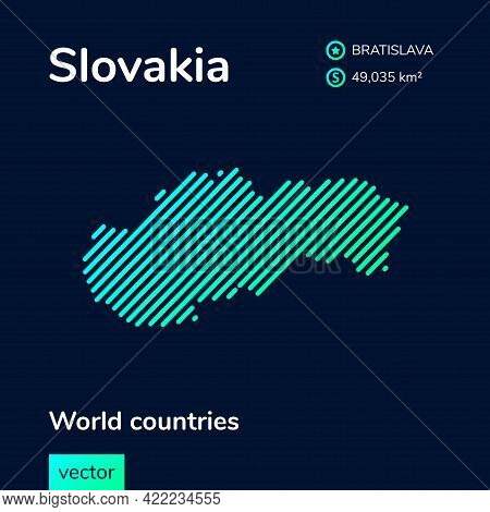 Vector Creative Digital Neon Flat Line Art Abstract Simple Map Of Slovakia With Green, Mint, Turquoi