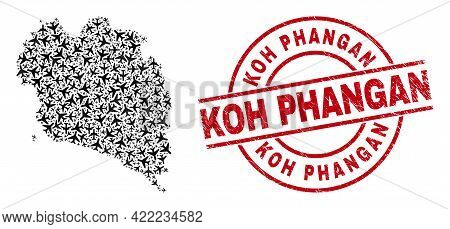 Koh Phangan Distress Seal, And Koh Phangan Map Mosaic Of Air Force Items. Collage Koh Phangan Map Cr
