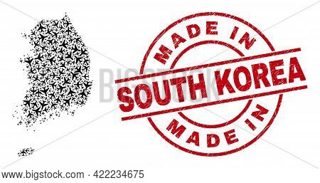 Made In South Korea Scratched Badge, And South Korea Map Mosaic Of Air Force Items. Mosaic South Kor