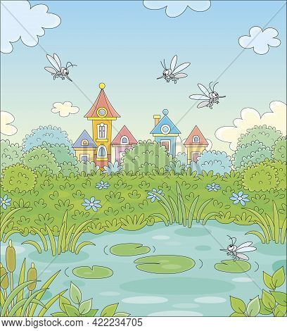 Angry Grey Mosquitoes Flying And Humming Around A Small Pond In A Green Summer Park Of A Pretty Town