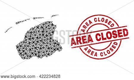 Area Closed Grunged Badge, And Friesland Province Map Mosaic Of Airliner Items. Mosaic Friesland Pro