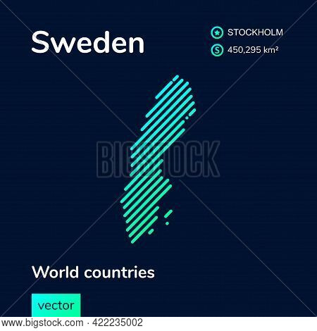Vector Creative Digital Neon Flat Line Art Abstract Simple Map Of Sweden With Green, Mint, Turquoise