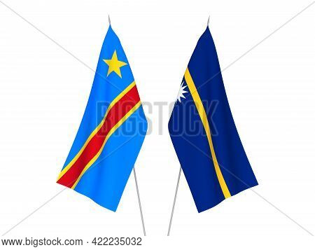 National Fabric Flags Of Democratic Republic Of The Congo And Republic Of Nauru Isolated On White Ba