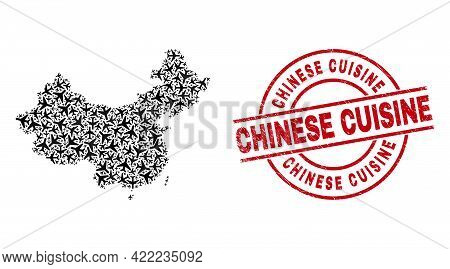 Chinese Cuisine Grunge Seal Stamp, And China Map Collage Of Air Plane Items. Collage China Map Const