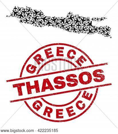 Greece Thassos Grunged Seal Stamp, And Java Island Map Mosaic Of Aircraft Items. Mosaic Java Island