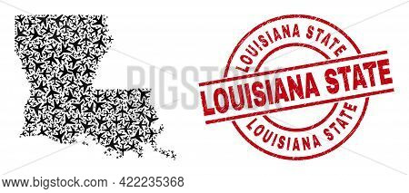 Louisiana State Grunge Stamp, And Louisiana State Map Collage Of Airplane Elements. Collage Louisian