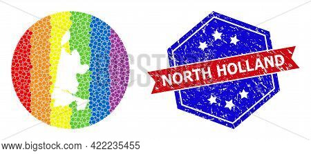 Pixel Spectrum Map Of North Holland Mosaic Formed With Circle And Hole, And Textured Seal Stamp. Lgb