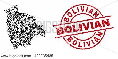 Bolivian Textured Seal, And Bolivia Map Mosaic Of Jet Vehicle Items. Mosaic Bolivia Map Constructed
