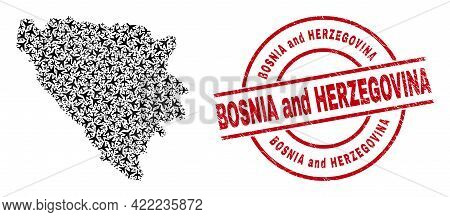 Bosnia And Herzegovina Rubber Stamp, And Bosnia And Herzegovina Map Collage Of Airplane Elements. Co