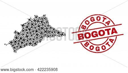 Bogota Rubber Seal, And Malaga Province Map Collage Of Airplane Items. Collage Malaga Province Map C