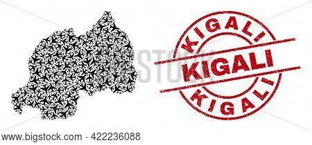 Kigali Grunge Badge, And Rwanda Map Collage Of Jet Vehicle Items. Collage Rwanda Map Constructed Wit