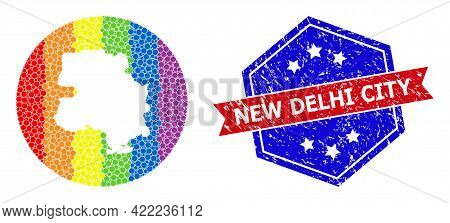Pixel Bright Spectral Map Of New Delhi City Collage Created With Circle And Subtracted Space, And Di