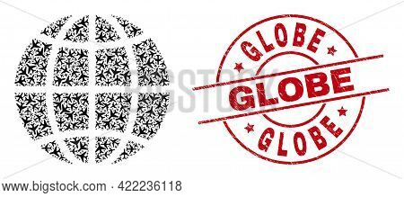Globe Rubber Seal, And Planet Globe Collage Of Air Plane Elements. Mosaic Planet Globe Constructed U