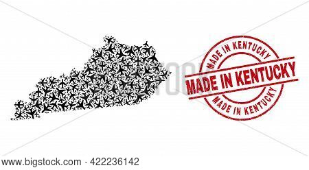Made In Kentucky Grunged Stamp, And Kentucky State Map Mosaic Of Air Force Items. Mosaic Kentucky St