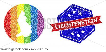 Pixelated Spectrum Map Of Liechtenstein Collage Designed With Circle And Cut Out Shape, And Scratche