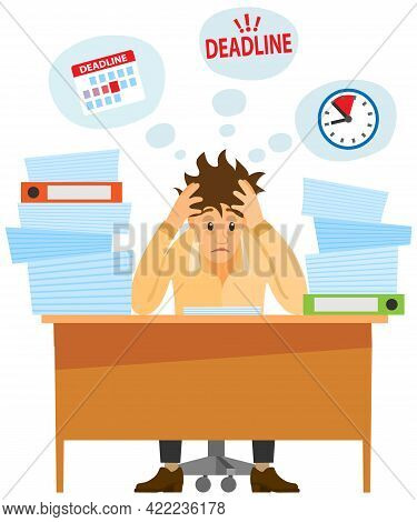 Busy Businessman Stressed Due To Paperwork. Male Employee Performs Work With Documents To Deal With