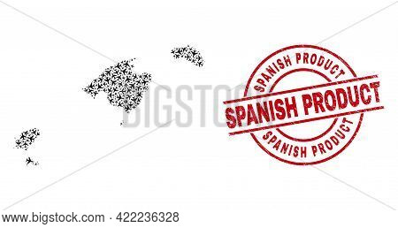 Spanish Product Rubber Seal Stamp, And Balearic Islands Map Collage Of Aviation Items. Collage Balea
