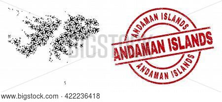 Andaman Islands Distress Badge, And Falkland Islands Map Collage Of Aeroplane Elements. Collage Falk
