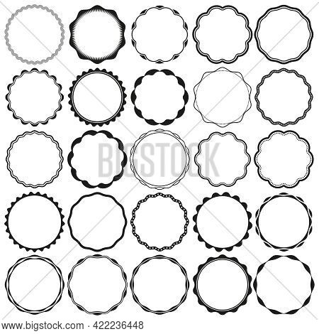 Collection Of Round Wax Seal Style Border Frames With Clear Background. Ideal For Vintage Label Desi