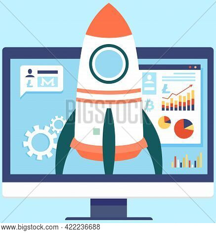 Computer Monitor With Rocket On Screen. Launching New Project. Business Startup With Spaceship. Rock