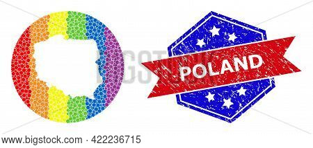 Dotted Rainbow Gradiented Map Of Poland Mosaic Created With Circle And Cut Out Shape, And Textured W