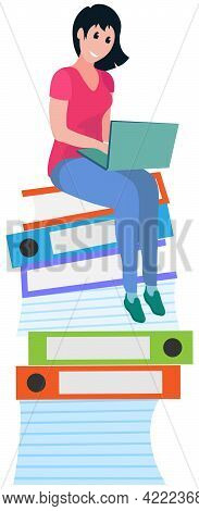 Woman Doing Large Amount Of Paperwork. Busy Female Employee Sitting At Stack Of Folders With Laptop
