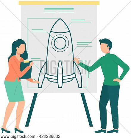 Couple Discussing New Project Plan. Man And Woman Brainstorming Rocket Poster. Presentation Of Busin