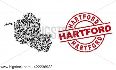 Hartford Textured Seal Stamp, And Rondonia State Map Mosaic Of Airliner Elements. Collage Rondonia S