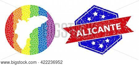 Dot Spectrum Map Of Alicante Province Mosaic Formed With Circle And Subtracted Shape, And Distress W