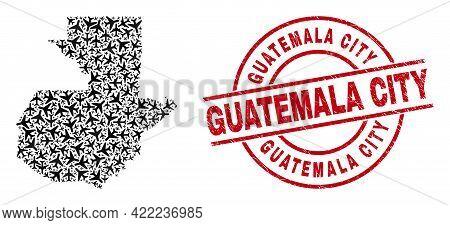 Guatemala City Grunge Seal Stamp, And Guatemala Map Collage Of Jet Vehicle Items. Collage Guatemala