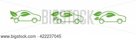 Eco Car Vector Icon Set. Green Car Template Collection. Ecological Transport Concept. Green Car With