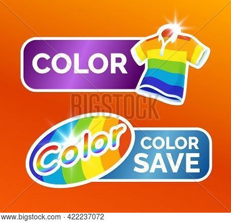 Washing Clothes Stickers Set, Polo Shirt And Colorful Garment Symbols For Label, Color Icon Set, Vec