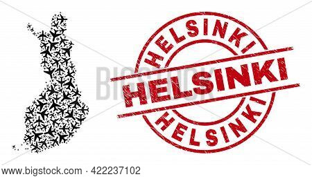 Helsinki Scratched Stamp, And Finland Map Mosaic Of Jet Vehicle Elements. Mosaic Finland Map Created