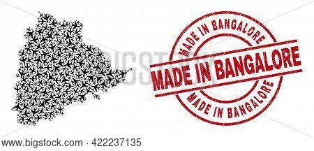 Made In Bangalore Rubber Seal, And Telangana State Map Mosaic Of Jet Vehicle Items. Collage Telangan