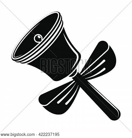 Contrast Monochrome Ringing School Bell With Handle And Bow. Call To Lesson. September 1, Beginning