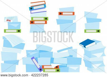 Set Different Stacks Of Documents Isolated On White Background. Paperwork, Work With Documents And D