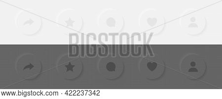 3D Social Media Icons Heart, Share, Repost And Comment. 3D Icons Set. Flat Signs Icons On White Back