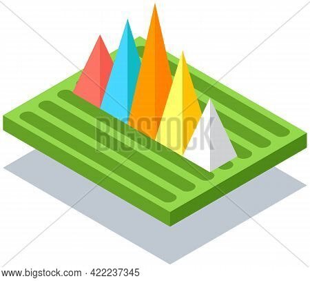 3d Growing Graphic. Isometric Infographics. Financial Strategy, Visual Presentation Concept. Analysi