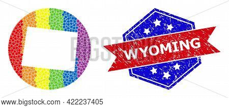 Dotted Spectrum Map Of Wyoming State Mosaic Created With Circle And Subtracted Space, And Textured S