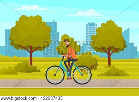 Cyclist On Bike Rides On Track. Landscape Of Urban City Park With Male Character Riding Bike. Citysc
