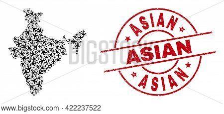 Asian Grunged Badge, And India Map Mosaic Of Aeroplane Items. Mosaic India Map Created From Aircraft