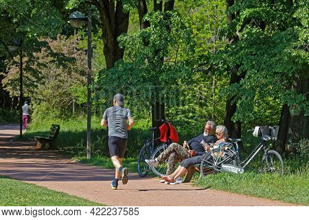 Lyon, France, May 3, 2021 : Lyon People Have A Rest In The Park On A Sunny Spring Day. The Park Is O