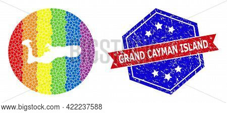 Pixel Spectrum Map Of Grand Cayman Island Collage Designed With Circle And Hole, And Grunge Badge. L