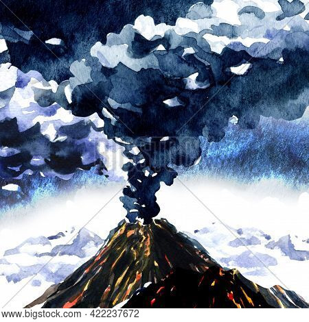 Volcanic Eruption, Volcano Erupt, Mountain With Smoke Cloud, Volcanic Activity With Magma Or Lava, N