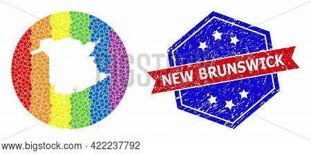 Pixel Spectrum Map Of New Brunswick Province Collage Created With Circle And Subtracted Space, And T