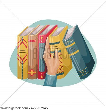A Man Picks Up A Book From A Bookshelf. Books With Covers And Spines In A Retro Style.