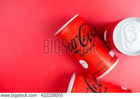 Bangkok, Thailand - May 31, 2021 : Mini Can Of New Coca-cola